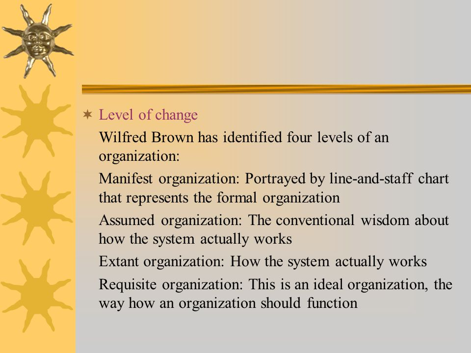  Level of change Wilfred Brown has identified four levels of an organization: Manifest organization: Portrayed by line-and-staff chart that represent