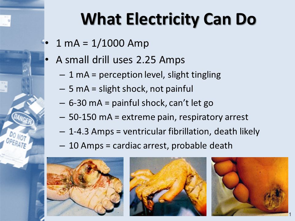 11 What Electricity Can Do 1 mA = 1/1000 Amp A small drill uses 2.25 Amps – 1 mA = perception level, slight tingling – 5 mA = slight shock, not painful – 6-30 mA = painful shock, can't let go – 50-150 mA = extreme pain, respiratory arrest – 1-4.3 Amps = ventricular fibrillation, death likely – 10 Amps = cardiac arrest, probable death