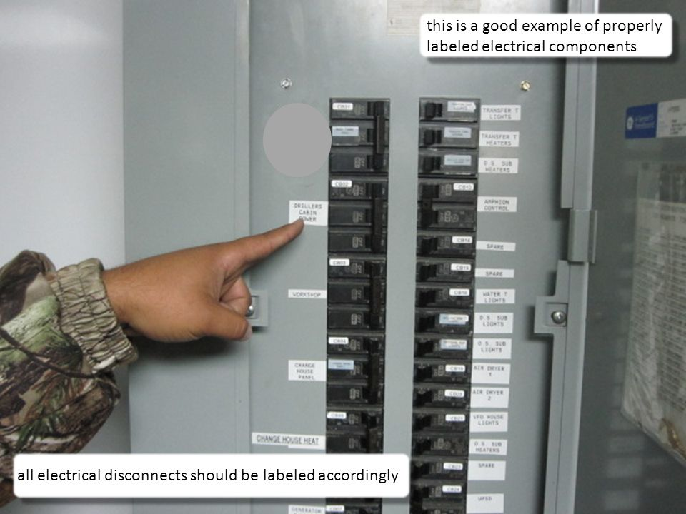 16 this is a good example of properly labeled electrical components all electrical disconnects should be labeled accordingly