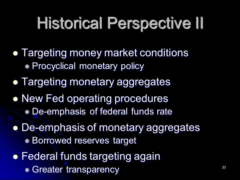 23 Historical Perspective II Targeting money market conditions Targeting money market conditions Procyclical monetary policy Procyclical monetary poli