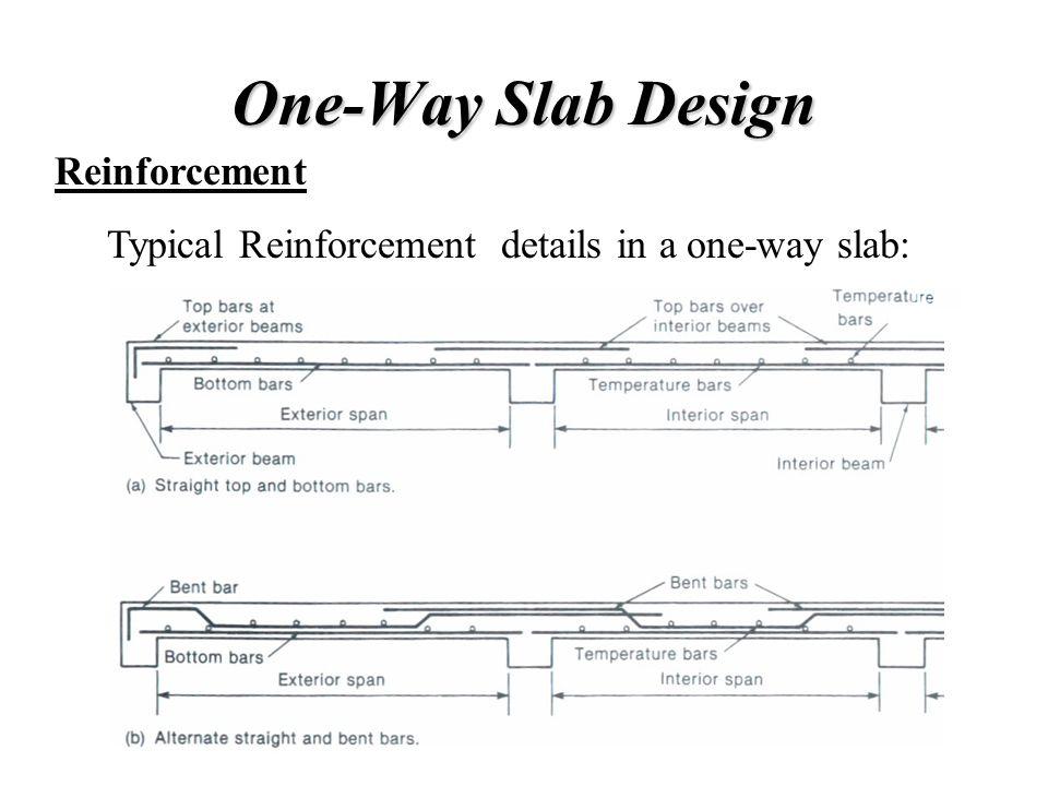 One-Way Slab Design Reinforcement Typical Reinforcement details in a one-way slab: