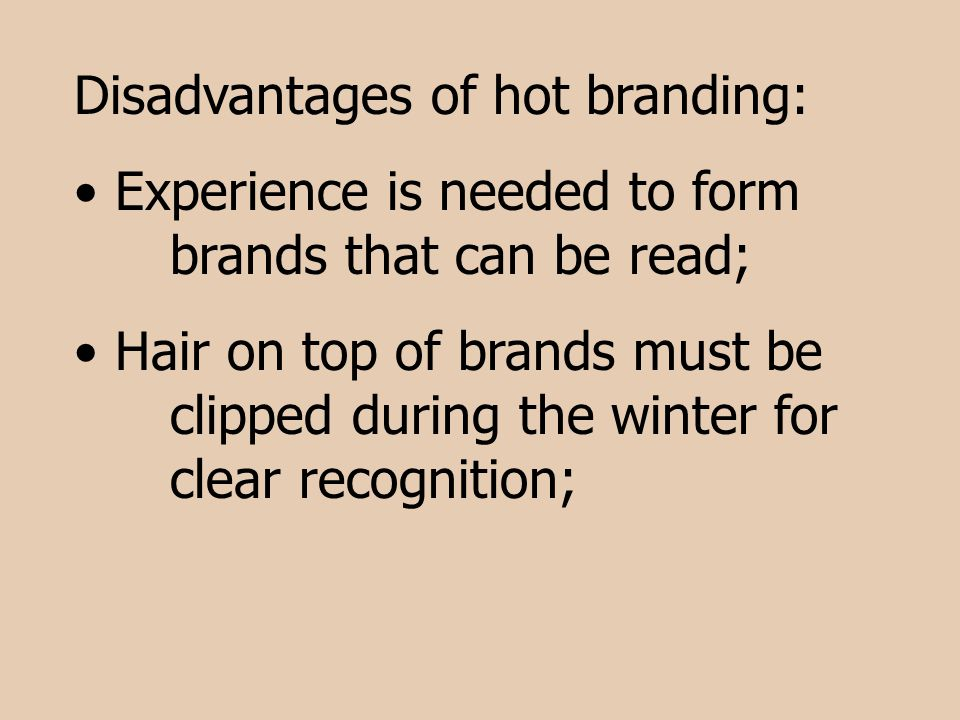 Disadvantages of hot branding: Experience is needed to form brands that can be read; Hair on top of brands must be clipped during the winter for clear