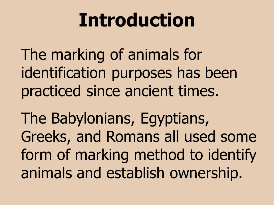 Introduction The marking of animals for identification purposes has been practiced since ancient times. The Babylonians, Egyptians, Greeks, and Romans