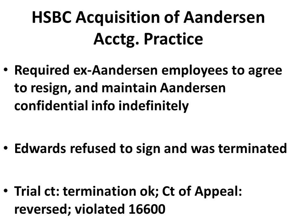 HSBC Acquisition of Aandersen Acctg.