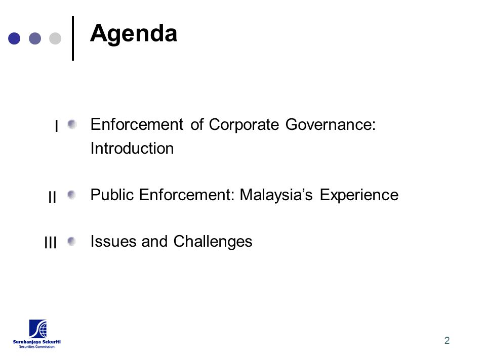 2 Agenda Enforcement of Corporate Governance: Introduction Public Enforcement: Malaysia's Experience Issues and Challenges I II III
