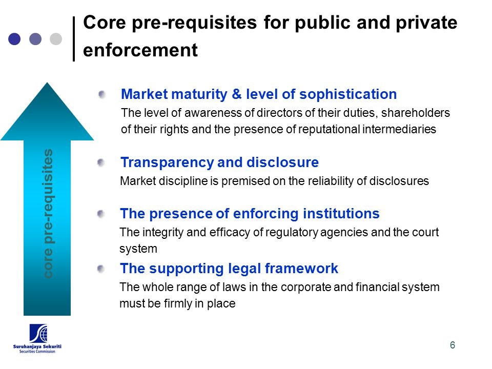 6 core pre-requisites Transparency and disclosure Market discipline is premised on the reliability of disclosures The presence of enforcing institutions The integrity and efficacy of regulatory agencies and the court system The supporting legal framework The whole range of laws in the corporate and financial system must be firmly in place Market maturity & level of sophistication The level of awareness of directors of their duties, shareholders of their rights and the presence of reputational intermediaries Core pre-requisites for public and private enforcement