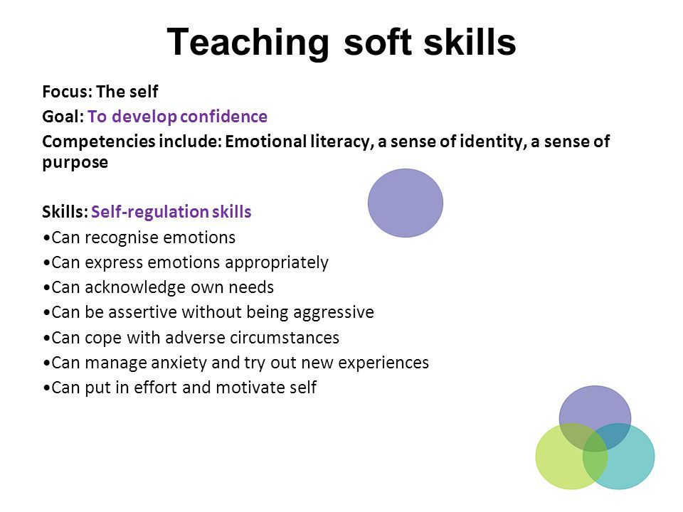 Teaching soft skills Focus: The self Goal: To develop confidence Competencies include: Emotional literacy, a sense of identity, a sense of purpose Ski
