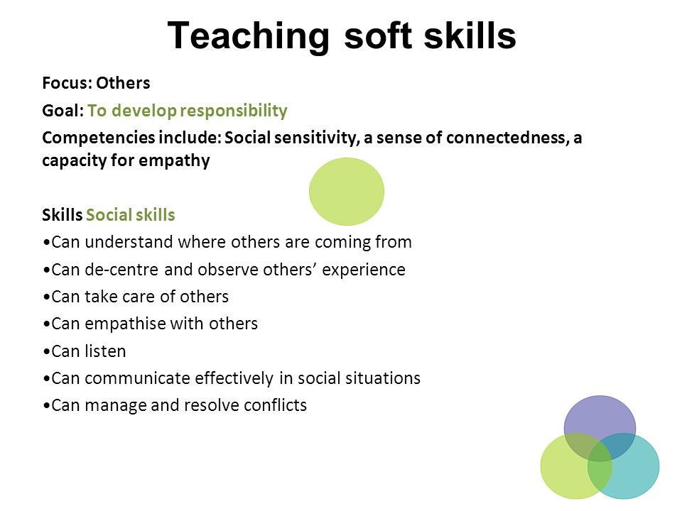Teaching soft skills Focus: Others Goal: To develop responsibility Competencies include: Social sensitivity, a sense of connectedness, a capacity for