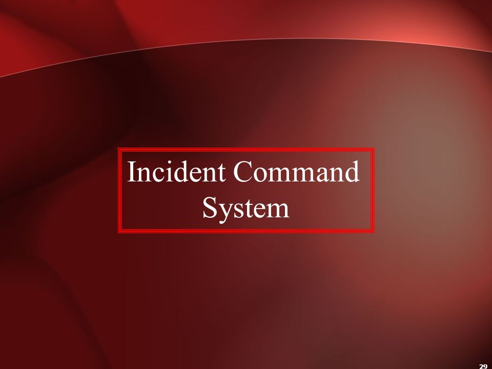 29 Incident Command System
