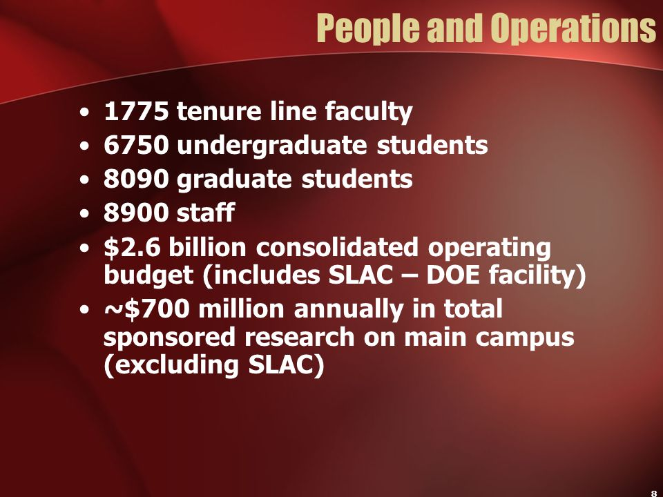 8 People and Operations 1775 tenure line faculty 6750 undergraduate students 8090 graduate students 8900 staff $2.6 billion consolidated operating bud