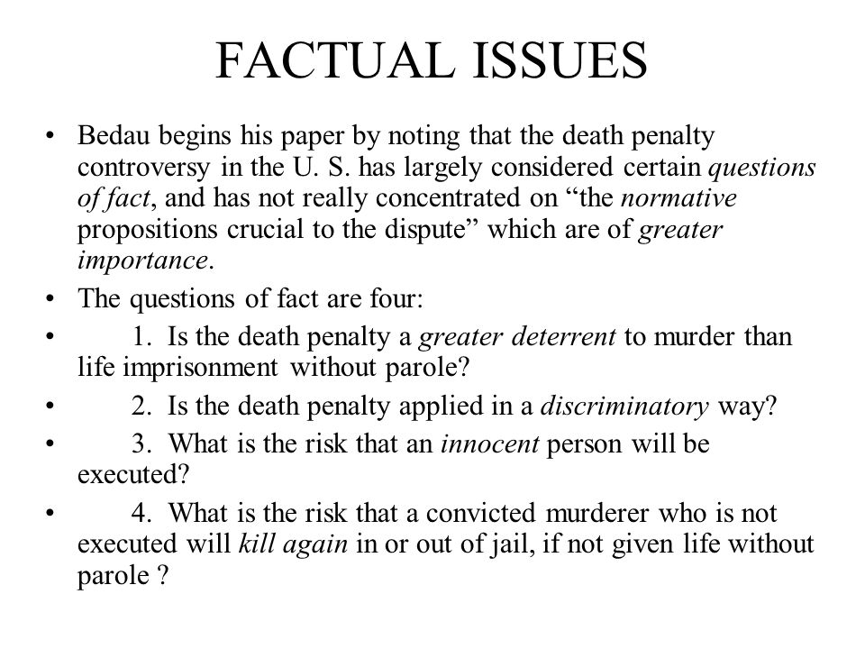 BEDAU'S CONCLUSIONS ABOUT THE DEATH PENALTY 1.