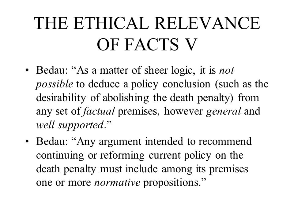 RISK TO THE INNOCENT II Analogously, van den Haag says that the occasional execution of an innocent person is outweighed by the benefits to society of the death penalty.