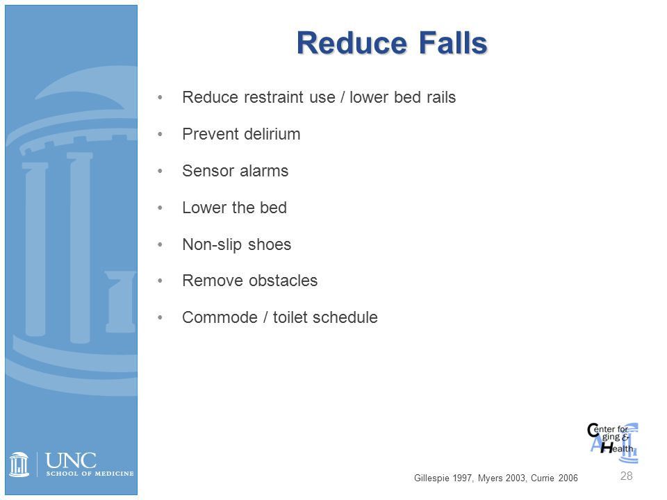 Reduce Falls Reduce restraint use / lower bed rails Prevent delirium Sensor alarms Lower the bed Non-slip shoes Remove obstacles Commode / toilet schedule Gillespie 1997, Myers 2003, Currie 2006 28
