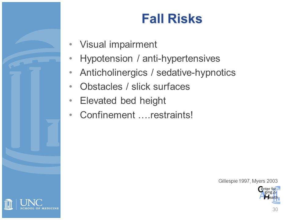 Fall Risks Visual impairment Hypotension / anti-hypertensives Anticholinergics / sedative-hypnotics Obstacles / slick surfaces Elevated bed height Confinement ….restraints.