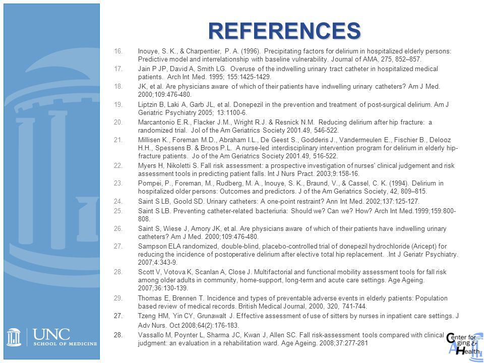 REFERENCES 16.Inouye, S. K., & Charpentier, P. A.
