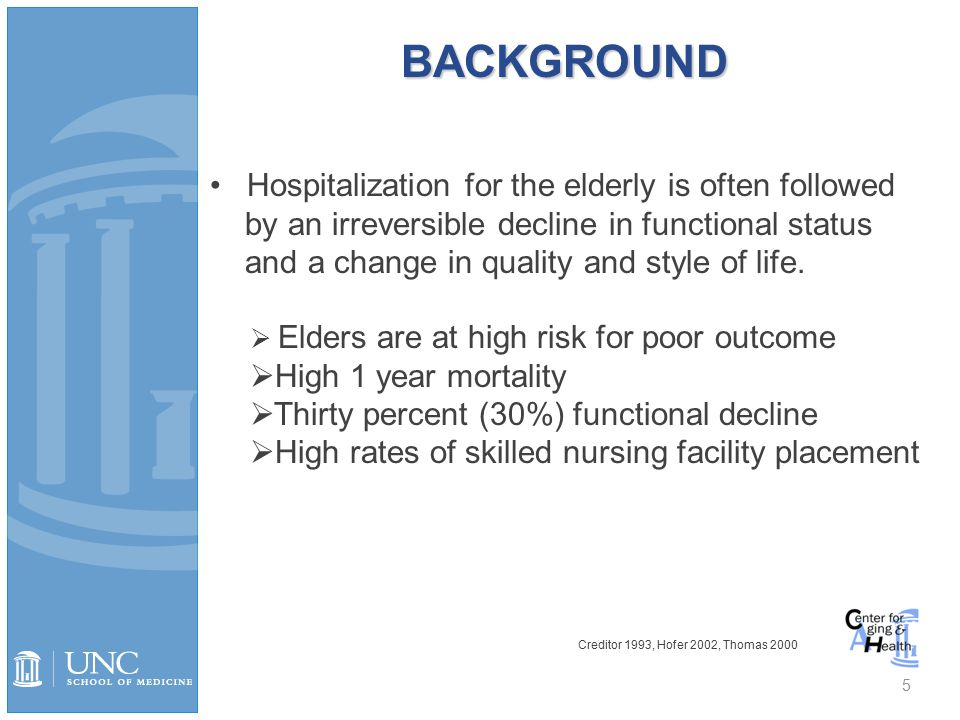 BACKGROUND 5 Hospitalization for the elderly is often followed by an irreversible decline in functional status and a change in quality and style of life.