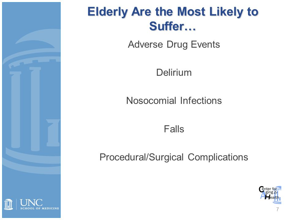 Adverse Drug Events Most common type of iatrogenic injury Predictors »> 4 meds »LOS > 14 days »> 4 active medical problems # of drugs is the strongest predictor; potential for interaction: 2 drugs 6%, 5 drugs 50%, ≥ 8 drugs nearly 100% 70-80% of ADEs in the elderly are dose related 30-50% preventable.