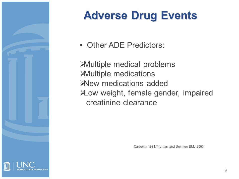 Adverse Drug Events 9 Other ADE Predictors:  Multiple medical problems  Multiple medications  New medications added  Low weight, female gender, impaired creatinine clearance Carbonin 1991;Thomas and Brennen BMJ 2000