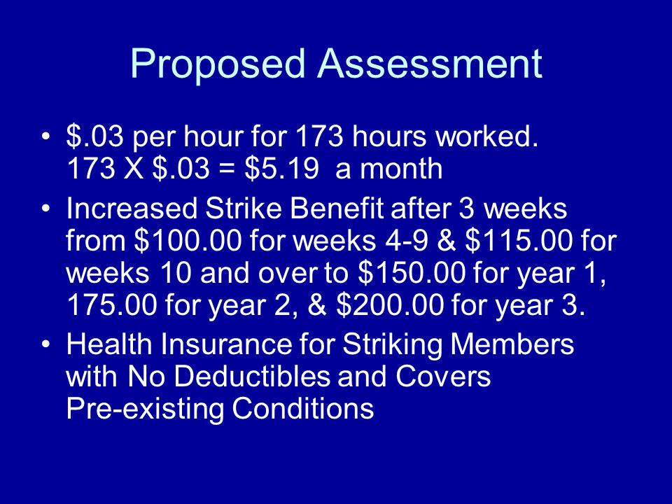 Proposed Assessment $.03 per hour for 173 hours worked. 173 X $.03 = $5.19 a month Increased Strike Benefit after 3 weeks from $100.00 for weeks 4-9 &