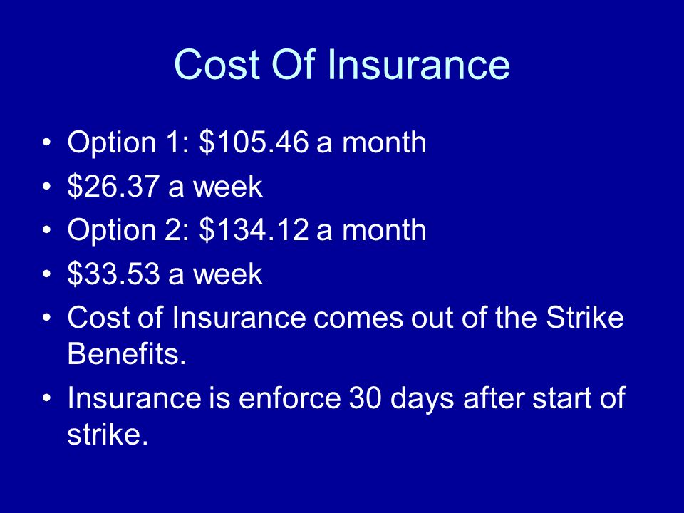 Cost Of Insurance Option 1: $105.46 a month $26.37 a week Option 2: $134.12 a month $33.53 a week Cost of Insurance comes out of the Strike Benefits.