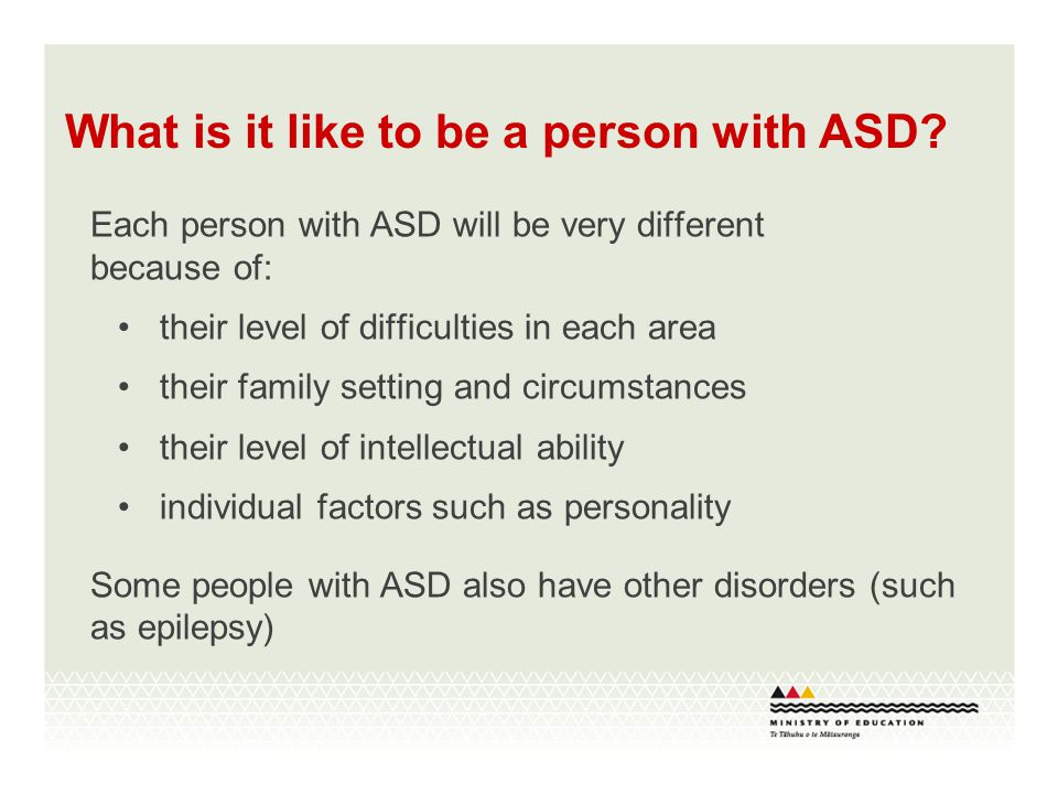 More about ASD ASD (autism spectrum disorder) includes autism and Asperger syndrome, as well as some other disorders with similar features ASD is a developmental disorder.
