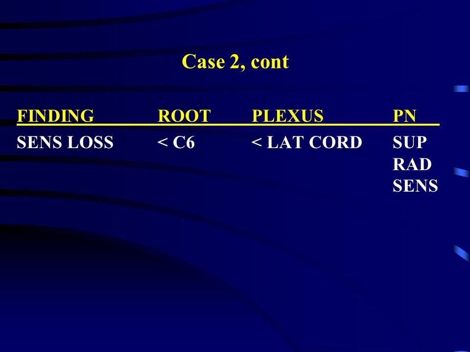 Case 2, cont FINDINGROOTPLEXUSPN SENS LOSS< C6< LAT CORDSUP RAD SENS