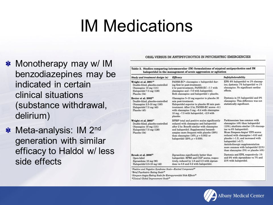IM Medications Monotherapy may w/ IM benzodiazepines may be indicated in certain clinical situations (substance withdrawal, delirium) Meta-analysis: I