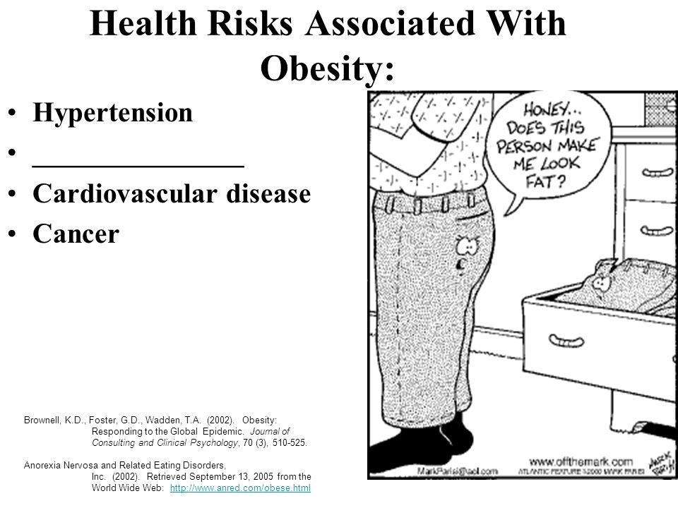 Health Risks Associated With Obesity: Hypertension _______________ Cardiovascular disease Cancer Brownell, K.D., Foster, G.D., Wadden, T.A. (2002). Ob