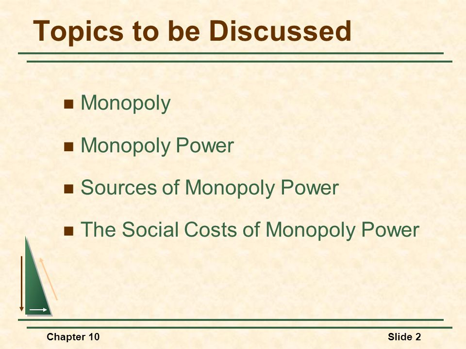 Chapter 10Slide 2 Topics to be Discussed Monopoly Monopoly Power Sources of Monopoly Power The Social Costs of Monopoly Power
