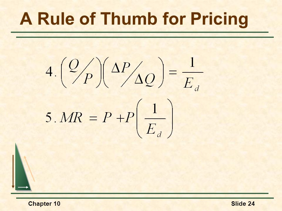Chapter 10Slide 24 A Rule of Thumb for Pricing