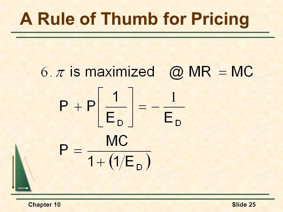 Chapter 10Slide 25 A Rule of Thumb for Pricing