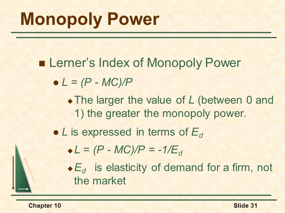 Chapter 10Slide 31 Monopoly Power Lerner's Index of Monopoly Power L = (P - MC)/P  The larger the value of L (between 0 and 1) the greater the monopo