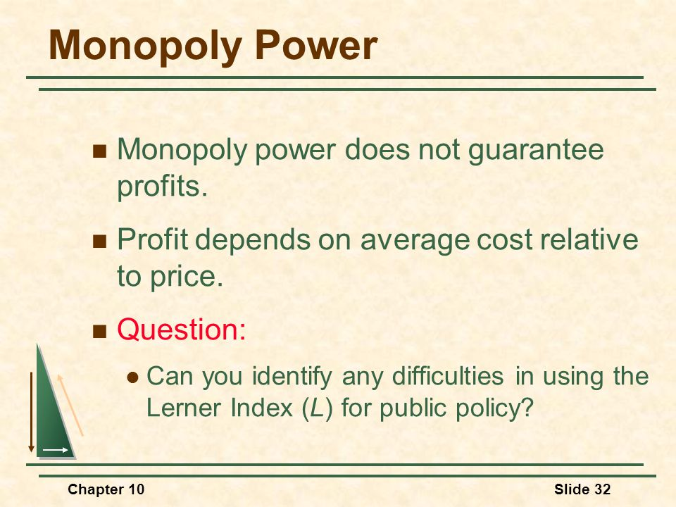 Chapter 10Slide 32 Monopoly Power Monopoly power does not guarantee profits. Profit depends on average cost relative to price. Question: Can you ident