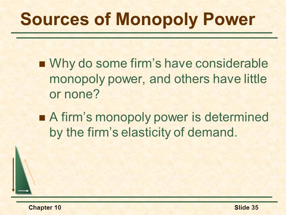 Chapter 10Slide 35 Sources of Monopoly Power Why do some firm's have considerable monopoly power, and others have little or none? A firm's monopoly po