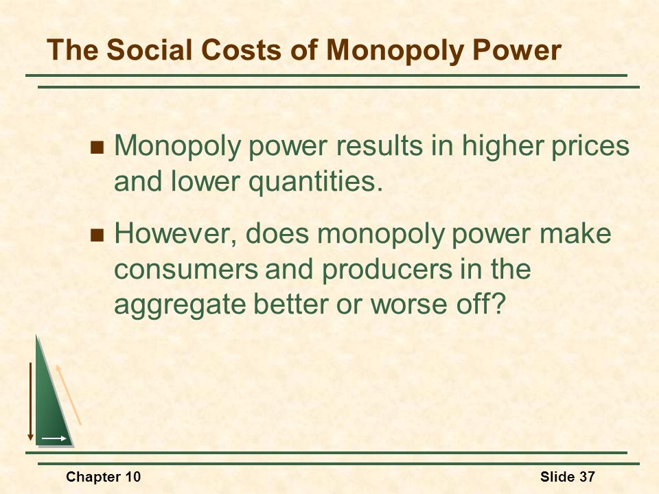 Chapter 10Slide 37 The Social Costs of Monopoly Power Monopoly power results in higher prices and lower quantities. However, does monopoly power make