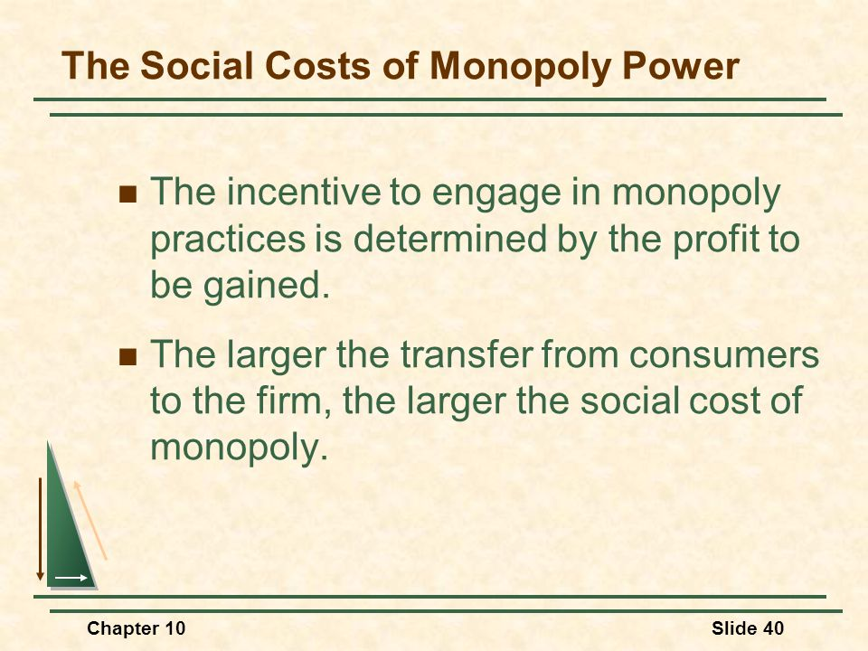 Chapter 10Slide 40 The incentive to engage in monopoly practices is determined by the profit to be gained. The larger the transfer from consumers to t