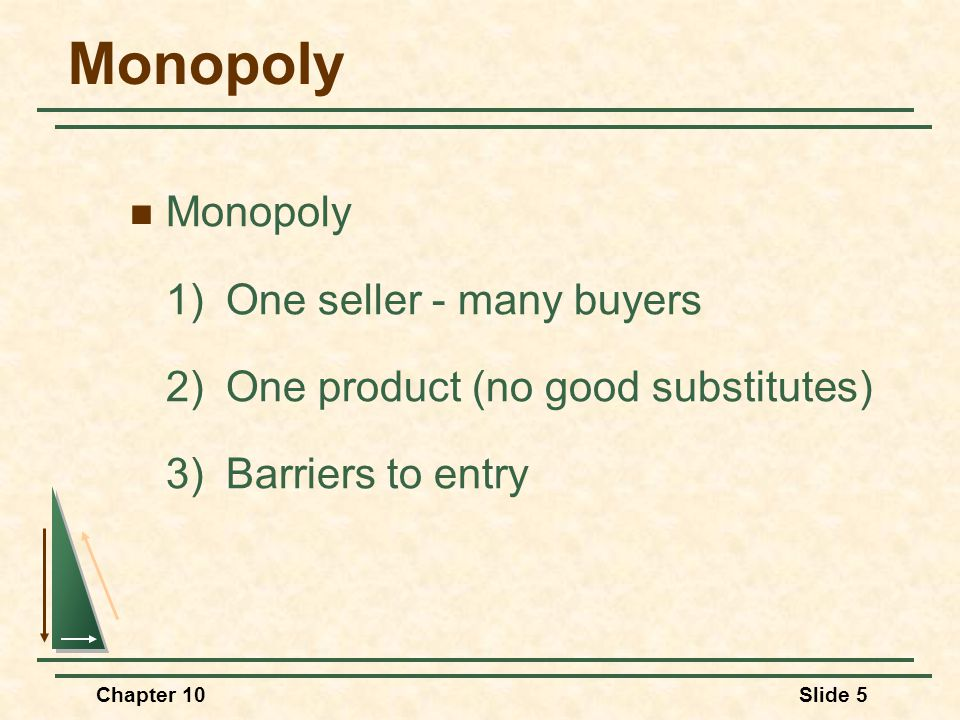 Chapter 10Slide 5 Monopoly 1) One seller - many buyers 2)One product (no good substitutes) 3)Barriers to entry