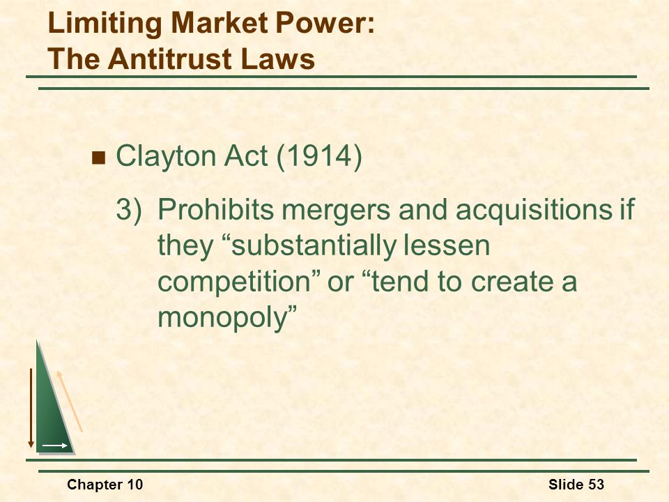 "Chapter 10Slide 53 Clayton Act (1914) 3)Prohibits mergers and acquisitions if they ""substantially lessen competition"" or ""tend to create a monopoly"" L"