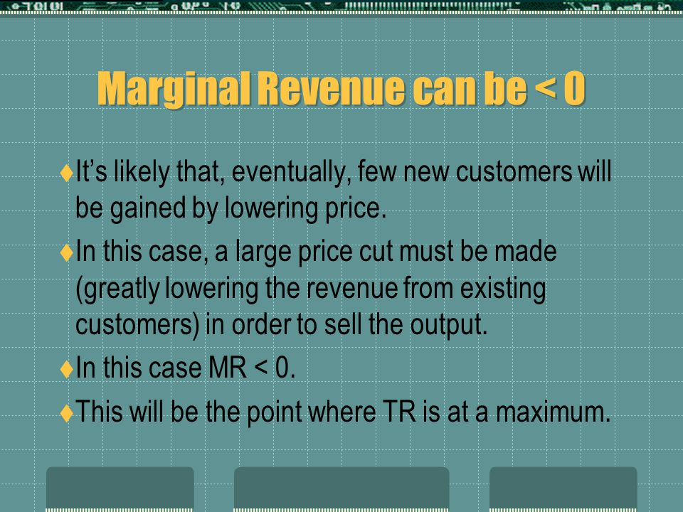 Marginal Revenue can be < 0  It's likely that, eventually, few new customers will be gained by lowering price.  In this case, a large price cut must