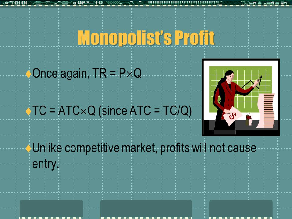Monopolist's Profit  Once again, TR = P  Q  TC = ATC  Q (since ATC = TC/Q)  Unlike competitive market, profits will not cause entry.