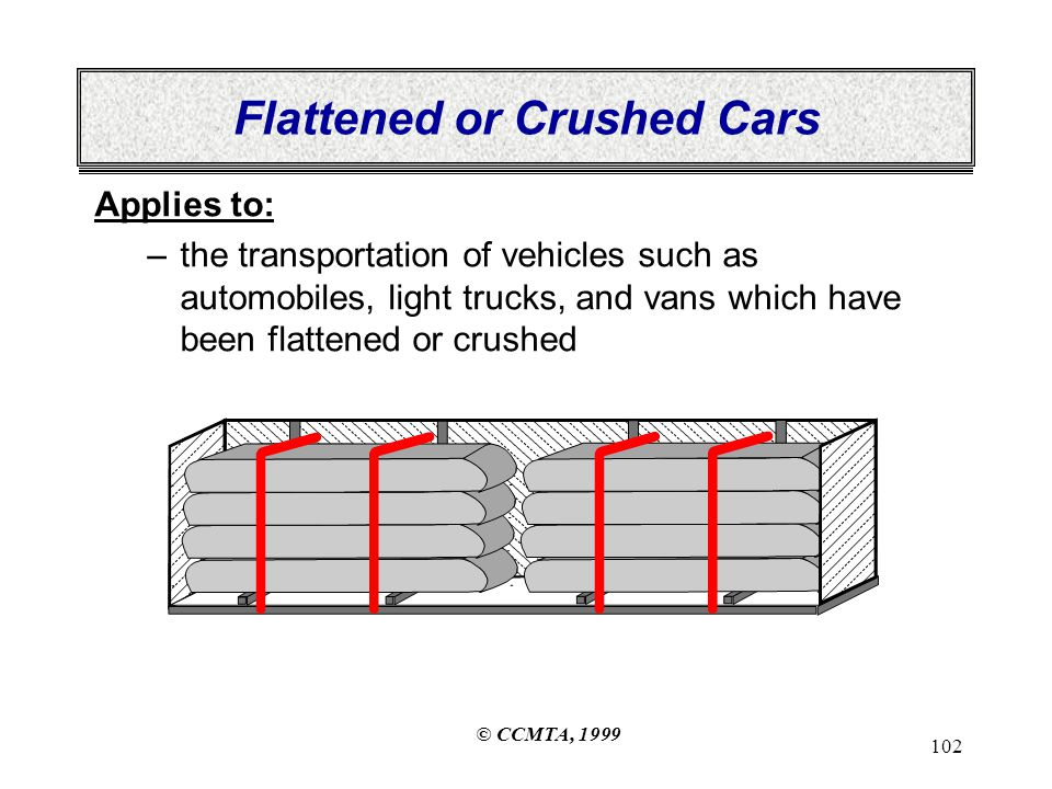 © CCMTA, 1999 102 Flattened or Crushed Cars Applies to: –the transportation of vehicles such as automobiles, light trucks, and vans which have been flattened or crushed