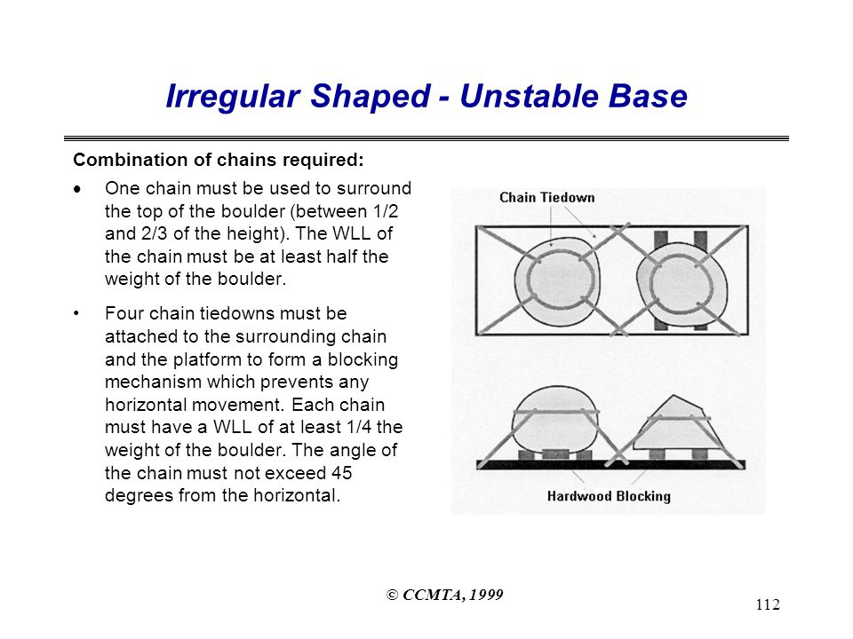 © CCMTA, 1999 112 Irregular Shaped - Unstable Base Combination of chains required:  One chain must be used to surround the top of the boulder (between 1/2 and 2/3 of the height).
