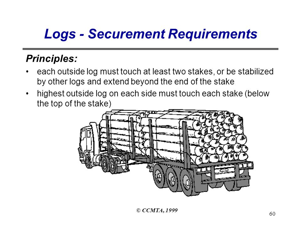 © CCMTA, 1999 60 Logs - Securement Requirements Principles: each outside log must touch at least two stakes, or be stabilized by other logs and extend beyond the end of the stake highest outside log on each side must touch each stake (below the top of the stake)