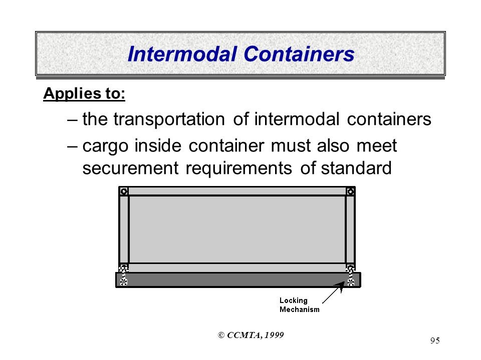 © CCMTA, 1999 95 Intermodal Containers Applies to: –the transportation of intermodal containers –cargo inside container must also meet securement requirements of standard