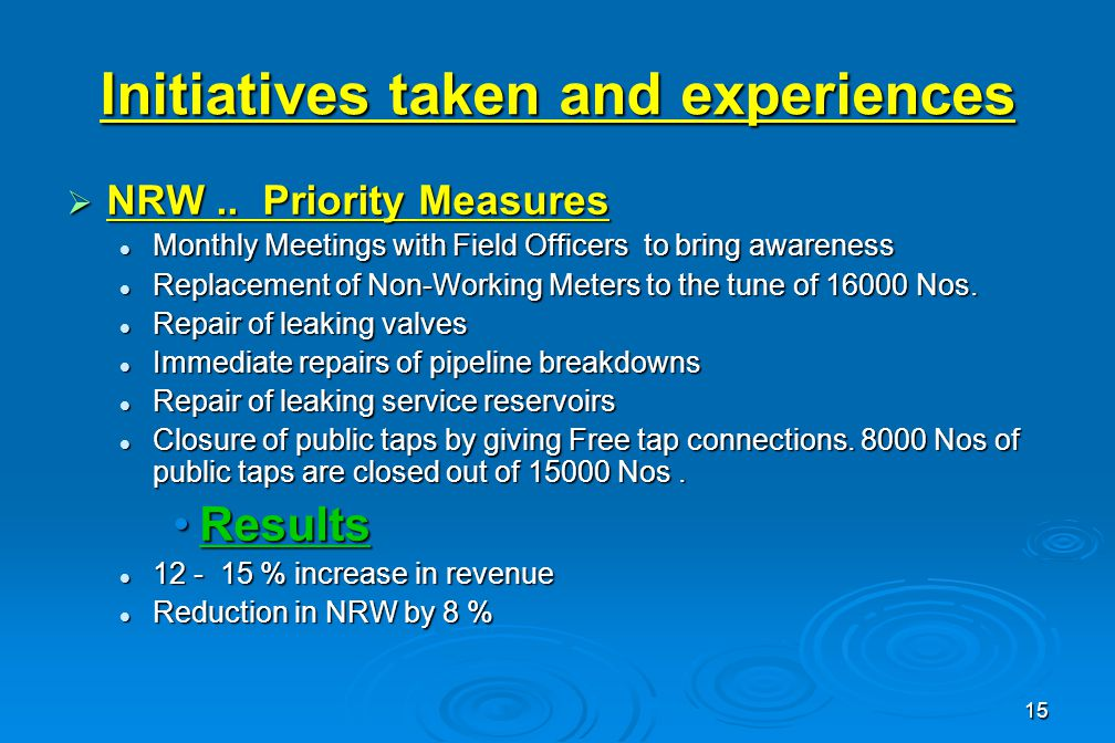 15 Initiatives taken and experiences  NRW..