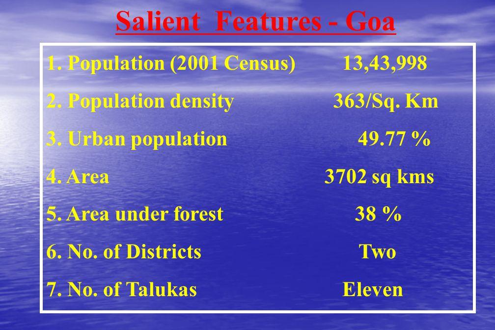 Salient Features - Goa 1.Population (2001 Census) 13,43,998 2.