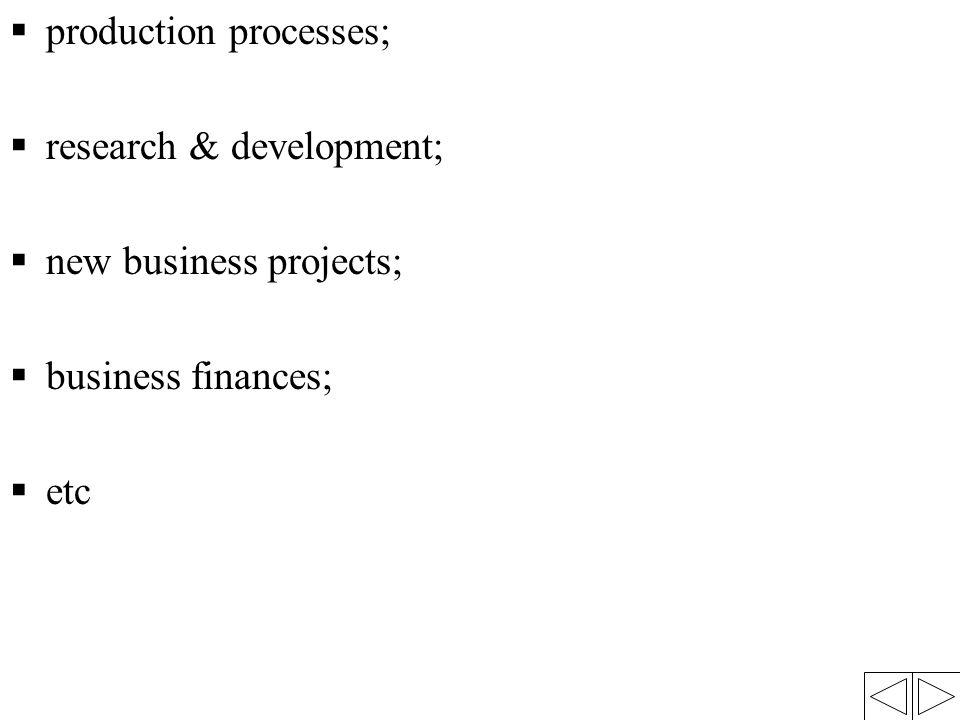  production processes;  research & development;  new business projects;  business finances;  etc