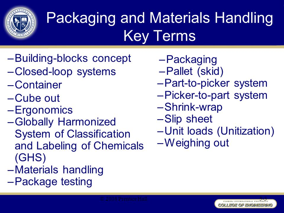 Packaging and Materials Handling Key Terms –Building-blocks concept –Closed-loop systems –Container –Cube out –Ergonomics –Globally Harmonized System