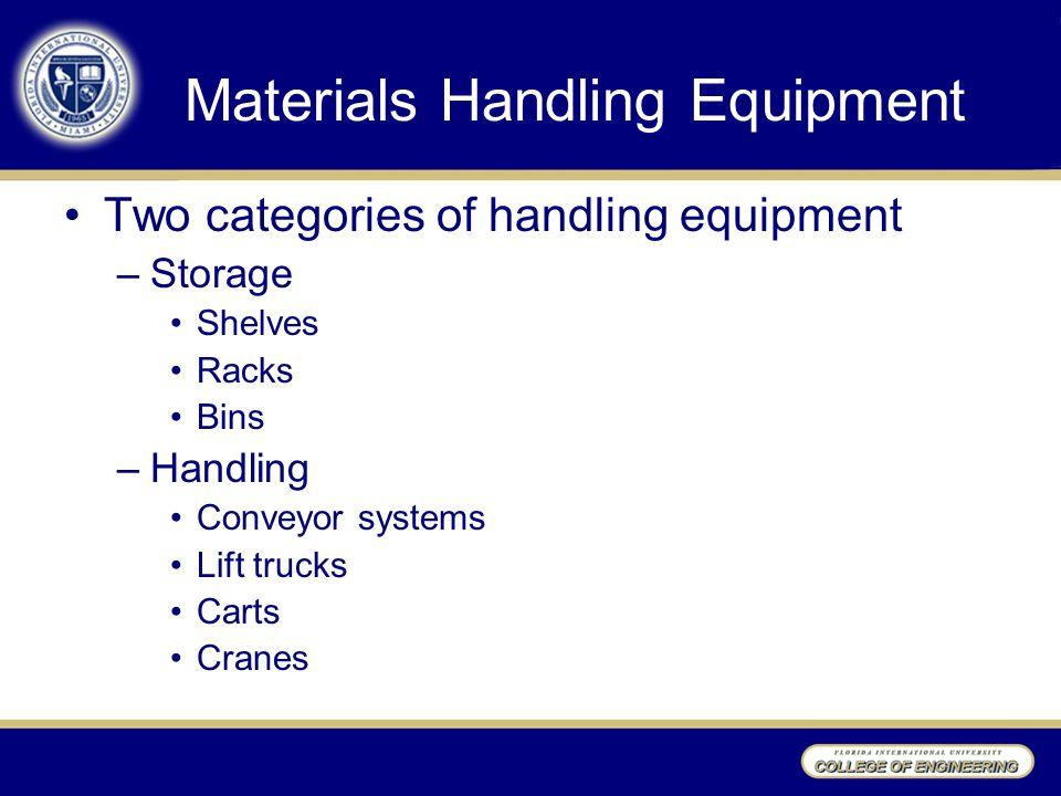 Materials Handling Equipment Two categories of handling equipment –Storage Shelves Racks Bins –Handling Conveyor systems Lift trucks Carts Cranes