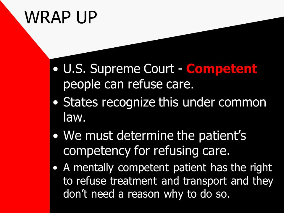 WRAP UP U.S. Supreme Court - Competent people can refuse care.